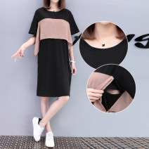 Nursing clothes Collection and purchase ⭐ Priority shipping, picture color M,L,XL,2XL,3XL Other / other Socket summer Short sleeve Medium length Korean version Dress Lift up Hemp cotton