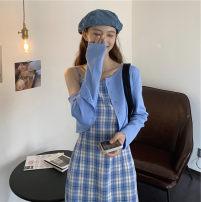 Dress Spring 2020 T-shirt, suspender dress (elastic back) Average size Short skirt Two piece set Sleeveless commute High waist lattice A-line skirt camisole 18-24 years old Type A Korean version fold