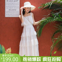 Dress Summer of 2019 white S,L,M Mid length dress singleton  commute Lotus leaf collar Elastic waist Solid color Socket A-line skirt Lotus leaf sleeve camisole 18-24 years old other