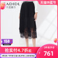 skirt Spring 2021 S M L XL black Mid length dress commute Natural waist other Solid color Type H 35-39 years old 51% (inclusive) - 70% (inclusive) CADIDL nylon Lace Ol style Same model in shopping mall (sold online and offline)