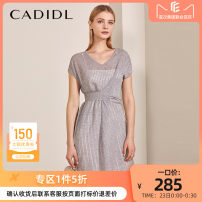 Dress Summer of 2019 grey S/160 M/165 L/170 XL/175 Middle-skirt singleton  Short sleeve commute V-neck middle-waisted Solid color zipper A-line skirt routine Others 35-39 years old CADIDL Simplicity 30% and below polyester fiber