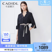 Dress Spring 2021 black S/36 M/38 L/40 XL/42 Mid length dress singleton  Long sleeves commute Crew neck middle-waisted Solid color other A-line skirt routine 35-39 years old Type H CADIDL Simplicity CF02181W0 81% (inclusive) - 90% (inclusive) nylon