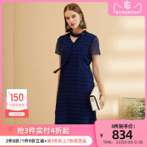 Dress Spring 2020 Zhongqing purple S M L XL Middle-skirt singleton  Short sleeve commute High collar Loose waist lattice Socket One pace skirt routine 35-39 years old Type H CADIDL Ol style Hollowing out More than 95% polyester fiber Polyester 100%