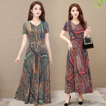 Dress Summer 2020 Red, green M,L,XL,2XL,3XL,4XL,5XL longuette singleton  Short sleeve commute V-neck High waist Decor Socket Big swing routine Others 40-49 years old Type A Wave flash Korean version printing LYQ20A35 91% (inclusive) - 95% (inclusive) other polyester fiber