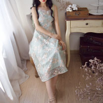 Dress Summer 2020 Light green S,M,L Mid length dress singleton  commute V-neck High waist Broken flowers zipper Big swing camisole 25-29 years old Type A Retro Bowknot, Gouhua, hollow out, lace, bandage, zipper, lace More than 95% Lace polyester fiber