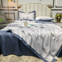 Bedding Set / four piece set / multi piece set Tencel (Lyocell fiber) Quilting Color contrast High density and high branch Other / other Tencel (Lyocell fiber) Others Qualified products Nordic style other Reactive Print  Thermal storage