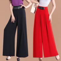 Casual pants Summer 2021 trousers Wide leg pants High waist commute Thin money 96% and above polyester fiber Korean version belt