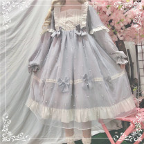 Dress Summer 2020 Long sleeve blue OP, long sleeve pink OP, blue BNT hat, pink BNT hat S. M, l, average size Middle-skirt singleton  Long sleeves Sweet square neck High waist Solid color Socket Princess Dress Princess sleeve Others 18-24 years old Type A 81% (inclusive) - 90% (inclusive) other Lolita