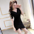 Dress Summer 2020 black S,M,L,XL Short skirt singleton  Short sleeve commute V-neck middle-waisted Solid color Irregular skirt routine 18-24 years old Ezrin Korean version Hollowing out l9n9z