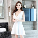 Dress Summer 2020 White, black, apricot, red S,M,L,XL,2XL Short skirt singleton  Sleeveless commute V-neck High waist Solid color zipper A-line skirt other camisole 25-29 years old Type A Korean version Open back, zipper 81% (inclusive) - 90% (inclusive) other polyester fiber