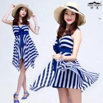 one piece  Helenda L,XL,XXL,XXXL blue Skirt one piece With chest pad without steel support Nylon, spandex female Sleeveless Casual swimsuit stripe