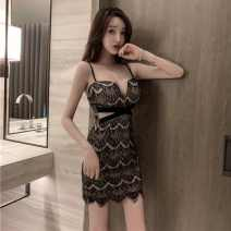 Dress Summer 2021 black S,M,L Short skirt singleton  commute V-neck High waist One pace skirt camisole 18-24 years old Type H Darcis Korean version backless xiwcY More than 95% Lace other