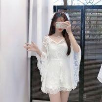 Lace / Chiffon Spring 2021 White with sling Average size Original design Socket singleton  easy Medium length V-neck Bat sleeve 18-24 years old 51% (inclusive) - 70% (inclusive) cotton