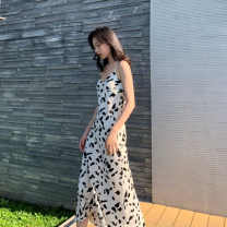 Dress Summer 2021 white S,M,L,XL,2XL longuette singleton  Sleeveless commute V-neck Decor camisole 25-29 years old Type H Korean version