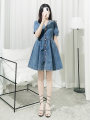 Dress Spring 2021 blue S,M,L,XL Short skirt Two piece set Long sleeves commute V-neck High waist Solid color Single breasted A-line skirt puff sleeve Others Type A Retro Button, mesh, zipper, printing, stitching, embroidery, bowknot, lace, lace, hollow out, fold More than 95% Denim other