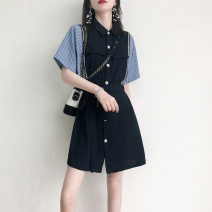 Dress Summer 2021 Khaki, blue S,M,L,XL Middle-skirt Short sleeve commute other High waist Solid color other Others 18-24 years old majekoce Stitching, lace up / belt other