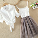 Dress Summer of 2019 S,M,L,XL,2XL,3XL,4XL Two piece set Short sleeve stand collar middle-waisted Three buttons Princess Dress camisole Type A Lace up, strap, button, mesh 91% (inclusive) - 95% (inclusive) other
