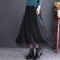 skirt Autumn of 2019 M,L,XL black Mid length dress commute Natural waist A-line skirt Solid color Type H Lace literature