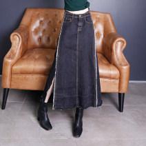 skirt Winter 2017 S,M,L,XL,2XL black Mid length dress High waist A-line skirt Solid color Type A 81% (inclusive) - 90% (inclusive) Denim Chic / shell cotton