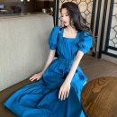 Dress Spring 2021 White, blue, yellow S,M,L Mid length dress singleton  Short sleeve commute square neck High waist puff sleeve 18-24 years old Type A Korean version