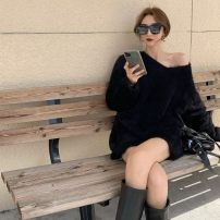 Wool knitwear Spring 2021 Average size White, black Long sleeves singleton  Socket other 30% and below Medium length commute easy V-neck Korean version 18-24 years old