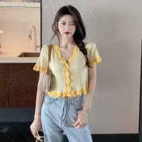 Wool knitwear Summer 2021 Average size Purple, yellow Short sleeve singleton  other 30% and below have cash less than that is registered in the accounts routine commute Self cultivation V-neck routine Korean version 18-24 years old