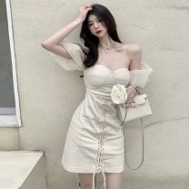 Dress Summer 2021 Picture color M, L Short skirt singleton  Short sleeve commute One word collar High waist puff sleeve 18-24 years old Korean version
