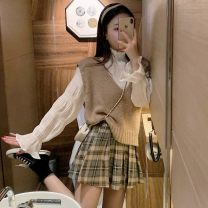 Fashion suit Spring 2021 Average size Plaid jacket, short skirt 18-25 years old