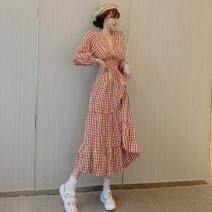 Dress Spring 2021 Red, black Average size Mid length dress singleton  Long sleeves commute V-neck High waist 18-24 years old Korean version