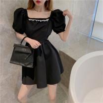 Dress Summer 2021 White, black S, M Short skirt singleton  Short sleeve commute square neck High waist Pleated skirt puff sleeve 18-24 years old Type A Korean version HB