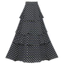 skirt Summer 2020 S,M,L Mid length dress High waist Cake skirt Dot 51% (inclusive) - 70% (inclusive)