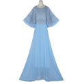 Dress Summer 2021 C00 × ty364 blue 2XL,1XL longuette Crew neck High waist Socket Flying sleeve Beading, stitching, lace 51% (inclusive) - 70% (inclusive)