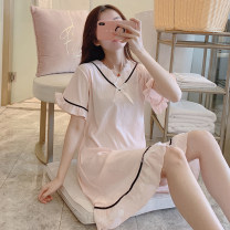 Nightdress Xiaomengmeng's appointment 16-58012-1 160(M),165(L),170(XL) Sweet Short sleeve Leisure home Middle-skirt summer Solid color youth V-neck cotton bow More than 95% pure cotton 16-58012-1 200g and below