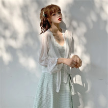 Lace / Chiffon Summer 2020 White, apricot, light blue Average size Long sleeves commute Cardigan easy have cash less than that is registered in the accounts V-neck Solid color pagoda sleeve Frenulum