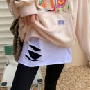 skirt Winter 2020 Average size White, hole, white, split, black, hole, black, split, white, letter Short skirt commute High waist Solid color