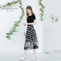 Dress Spring 2021 black and white S M L XL Middle-skirt singleton  Short sleeve commute Crew neck middle-waisted Dot zipper A-line skirt routine 30-34 years old Type A Beauty garden Korean version J029067 More than 95% other Other 100%