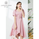 Dress Summer 2021 Begonia pink glaze blue S M L XL Middle-skirt singleton  Short sleeve commute Crew neck middle-waisted zipper A-line skirt routine 30-34 years old Type A Beauty garden lady J029011 51% (inclusive) - 70% (inclusive) cotton Cotton 57.4% polyester 40.4% others 2.2%