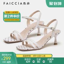 Sandals 34 35 36 37 38 39 Pink black white Sheepskin (except cashmere / cashmere) Feiccia / sefei Barefoot Fine heel High heel (5-8cm) Summer 2021 Flat buckle Europe and America Solid color Adhesive shoes Youth (18-40 years old) rubber daily Back space Low Gang PU PU Fashion sandals