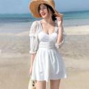 one piece  Jumei chaopin shop M,L,XL,XXL White, black Skirt one piece Steel strap breast pad Nylon, spandex, others