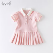 Dress Pink [spot] Pink - presale Pink - presale 1 female DAVE&BELLA Other 100% summer Europe and America Short sleeve Solid color cotton Pleats DB13088 Summer 2021 12 months, 18 months, 2 years old, 3 years old, 4 years old, 5 years old, 6 years old and 7 years old