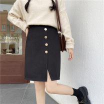 skirt Winter 2020 M,L,XL,2XL,3XL,4XL black Short skirt commute High waist A-line skirt Solid color Type A 25-29 years old Soldier wool 4 BUCKLES 81% (inclusive) - 90% (inclusive) Wool polyester fiber Button, split Korean version
