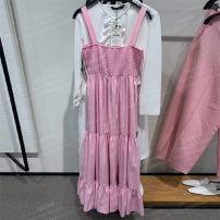 Dress Summer 2021 Pink XS,S,M,L longuette singleton  Sleeveless Sweet square neck Loose waist routine Type A UR HM ZARA
