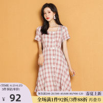 Dress Summer 2020 Powder grid 155/S 160/M 165/L 170/XL longuette singleton  Short sleeve commute square neck High waist lattice A-line skirt routine 25-29 years old Type A One-t / Rabbit Button 20L1009 91% (inclusive) - 95% (inclusive) polyester fiber Pure e-commerce (online only)