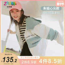 Plain coat Aunt Zhu female 130cm 140cm 150cm 160cm 170cm 175cm White and green spring and autumn Korean version Zipper shirt There are models in the real shooting routine No detachable cap other other other Other 100% Class C Spring 2021