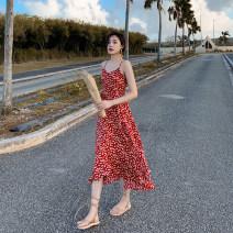 Dress Summer 2020 Decor S,M,L,XL Mid length dress singleton  commute V-neck High waist Decor Socket A-line skirt camisole Retro 81% (inclusive) - 90% (inclusive)