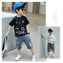 suit Other / other Black, white, brick red 110cm,120cm,130cm,140cm,150cm,160cm male summer leisure time Short sleeve + pants 2 pieces Thin money There are models in the real shooting Socket nothing printing cotton elder Expression of love Class B Cotton 85% others 15% Chinese Mainland Huzhou City