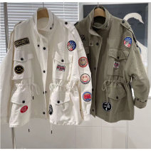 short coat Spring 2021 S, M White, army green, khaki Long sleeves Medium length routine singleton  easy commute routine stand collar Single breasted Solid color 18-24 years old pocket cotton cotton