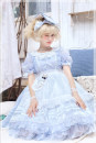 Dress Spring of 2019 Blue, purple, pink, generative S,M,L,XL Short sleeve Sweet Crew neck Solid color Ruffle Skirt puff sleeve Type A More than 95% organza  Lolita