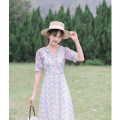 Dress Summer 2021 Lavender  XS,S,M,L Mid length dress singleton  Short sleeve commute V-neck High waist Decor zipper A-line skirt routine Others Type A Other / other Korean version More than 95% Chiffon other