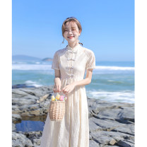 Dress Summer 2021 Apricot XS,S,M,L Mid length dress singleton  Short sleeve commute stand collar High waist Decor zipper A-line skirt routine Others Type A Other / other Korean version Bright silk, Gouhua, hollow, button, zipper, resin fixation, lace 191201-16 More than 95% Lace other
